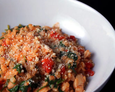 creamy barley with tomatoes, chicken, and spinach