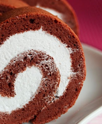 Chocolate Swiss Roll with Whipped Cream