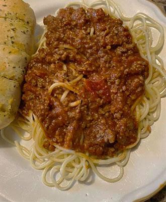 Favorite Spaghetti with Garlic Bread