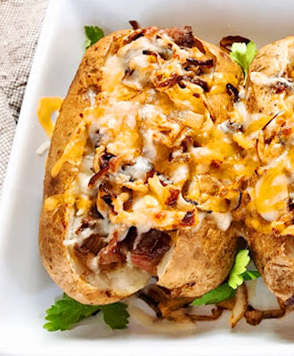 Loaded Philly Cheesesteak Potatoes