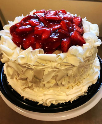 White chocolate sour cream Strawberry cake