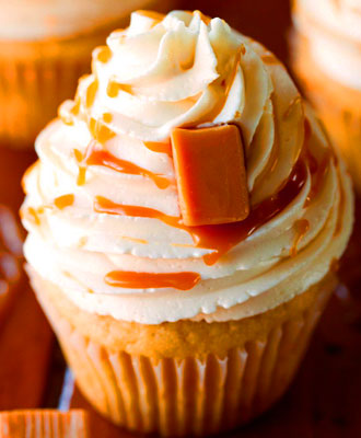 Egg-Free Vanilla Cupcakes with Salted Caramel